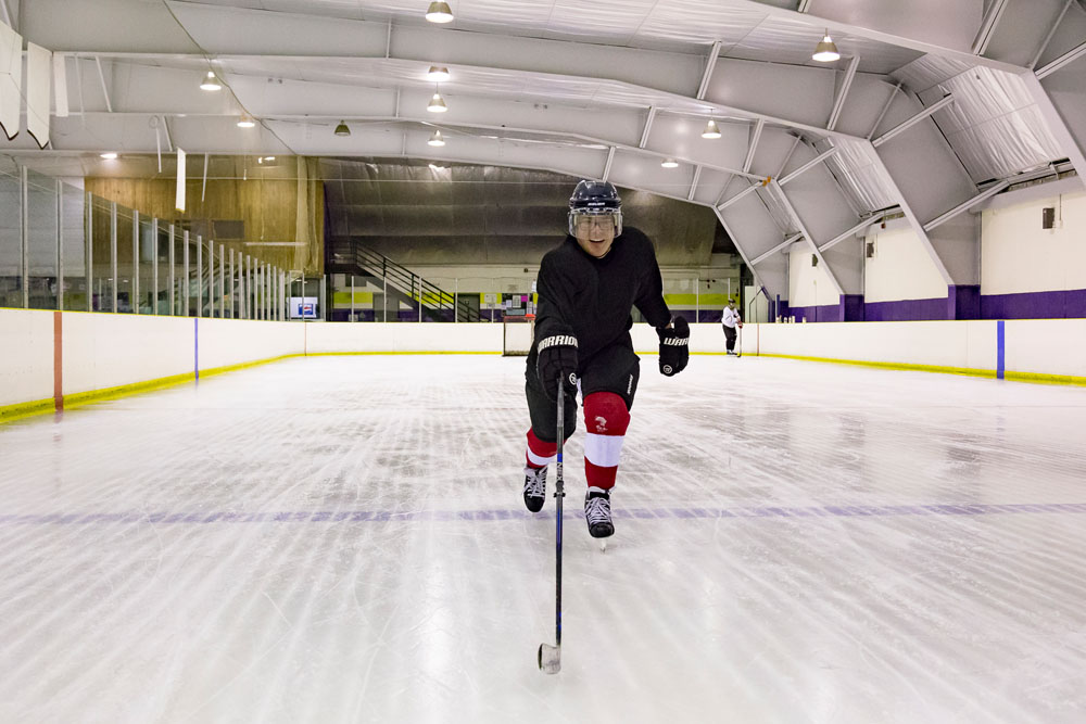 player skating up the ice