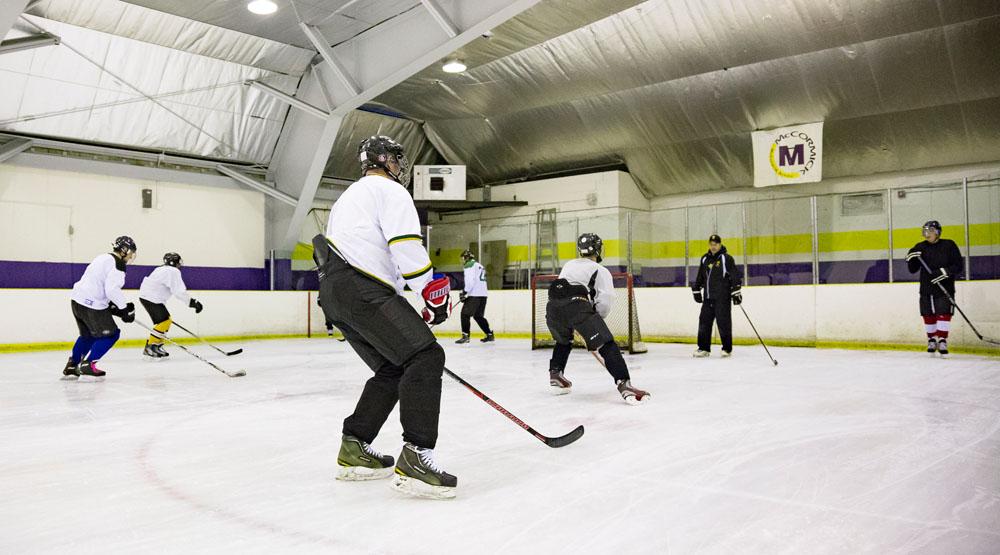 players practicing skating