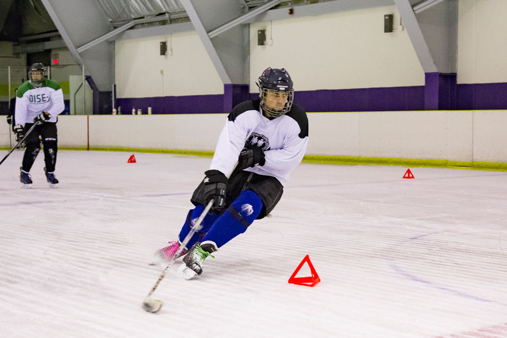 player curling around a cone